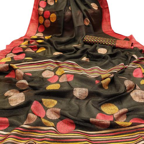 Radiant Black Colored Casual Wear Printed Cotton Jute Saree
