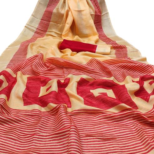 Pleasant Peach-Red Colored Casual Wear Printed Cotton Jute Saree
