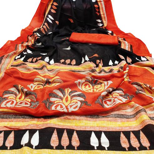 Opulent Black Colored Casual Wear Printed Cotton Jute Saree