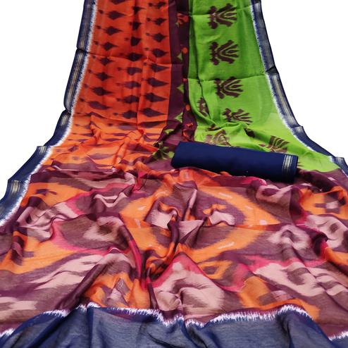 Mesmeric Green-Orange Colored Casual Wera Printed Art Silk Saree
