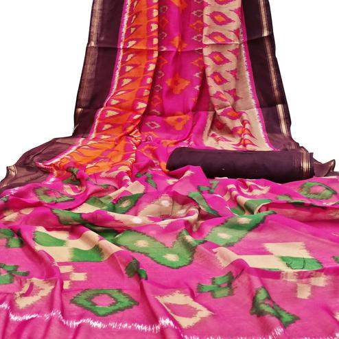 Unique Pink Colored Casual Wera Printed Art Silk Saree