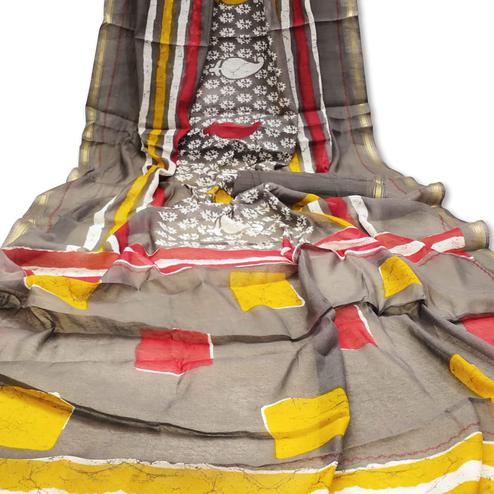 Magnetic Grey Colored Casual Wera Printed Art Silk Saree