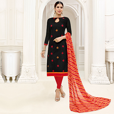 Adorable Black - Red Embroidered Chanderi Silk Dress Material