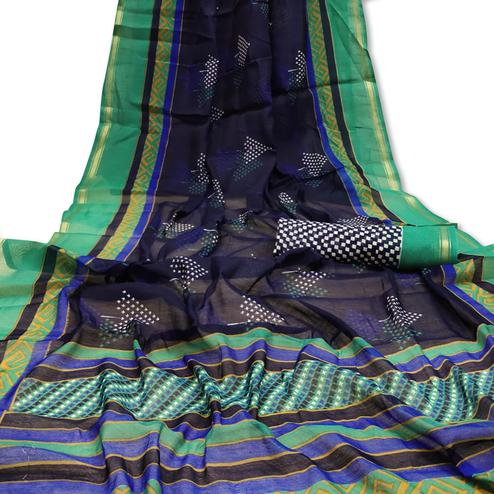Hypnotic Navy Blue Colored Casual Wera Printed Art Silk Saree