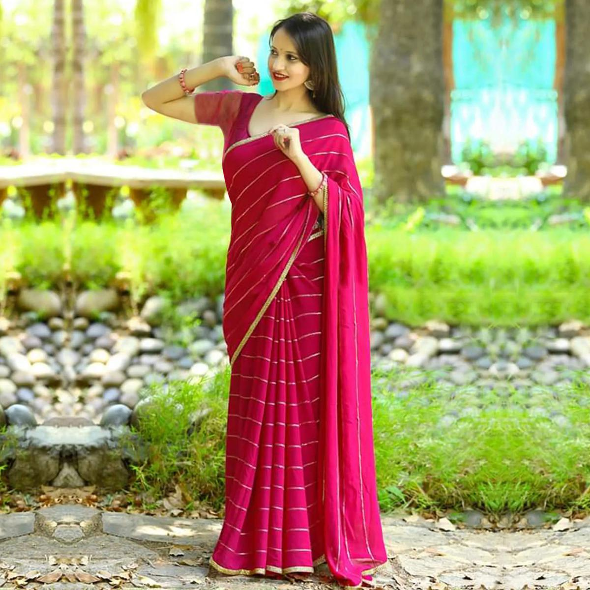 Blissful Pink Colored Party Wear Embroidered Cotton Saree