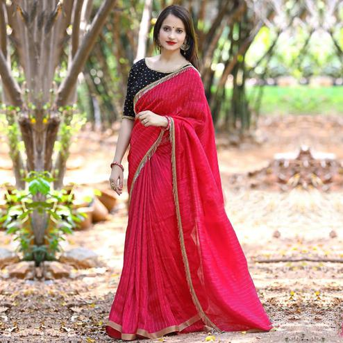 Flattering Red Colored Party Wear Embroidered Cotton Saree