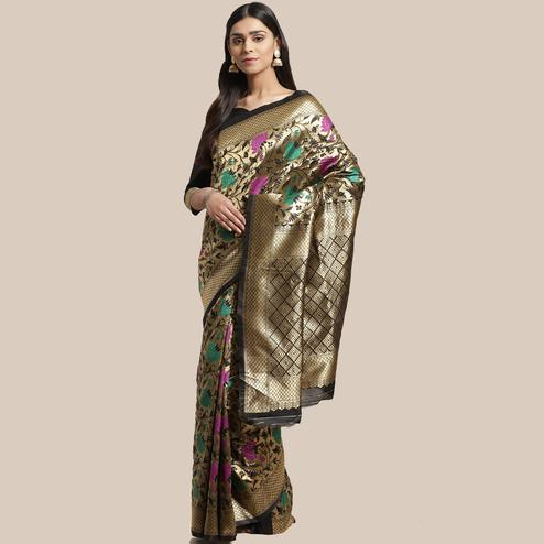 Adorable Gold-Black Colored Festive Wear Woven Silk Blend Saree