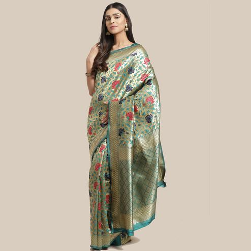 Glorious Gold-Green Colored Festive Wear Woven Silk Blend Saree