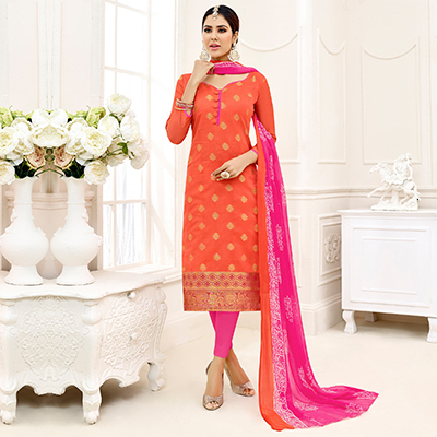 Graceful Orange - Pink Embroidered Chanderi Silk Dress Material