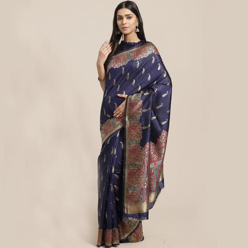 Blooming Navy Blue Colored Festive Wear Woven Silk Blend Saree