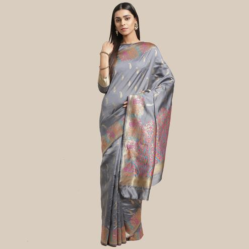 Charming Grey Colored Festive Wear Woven Silk Blend Saree