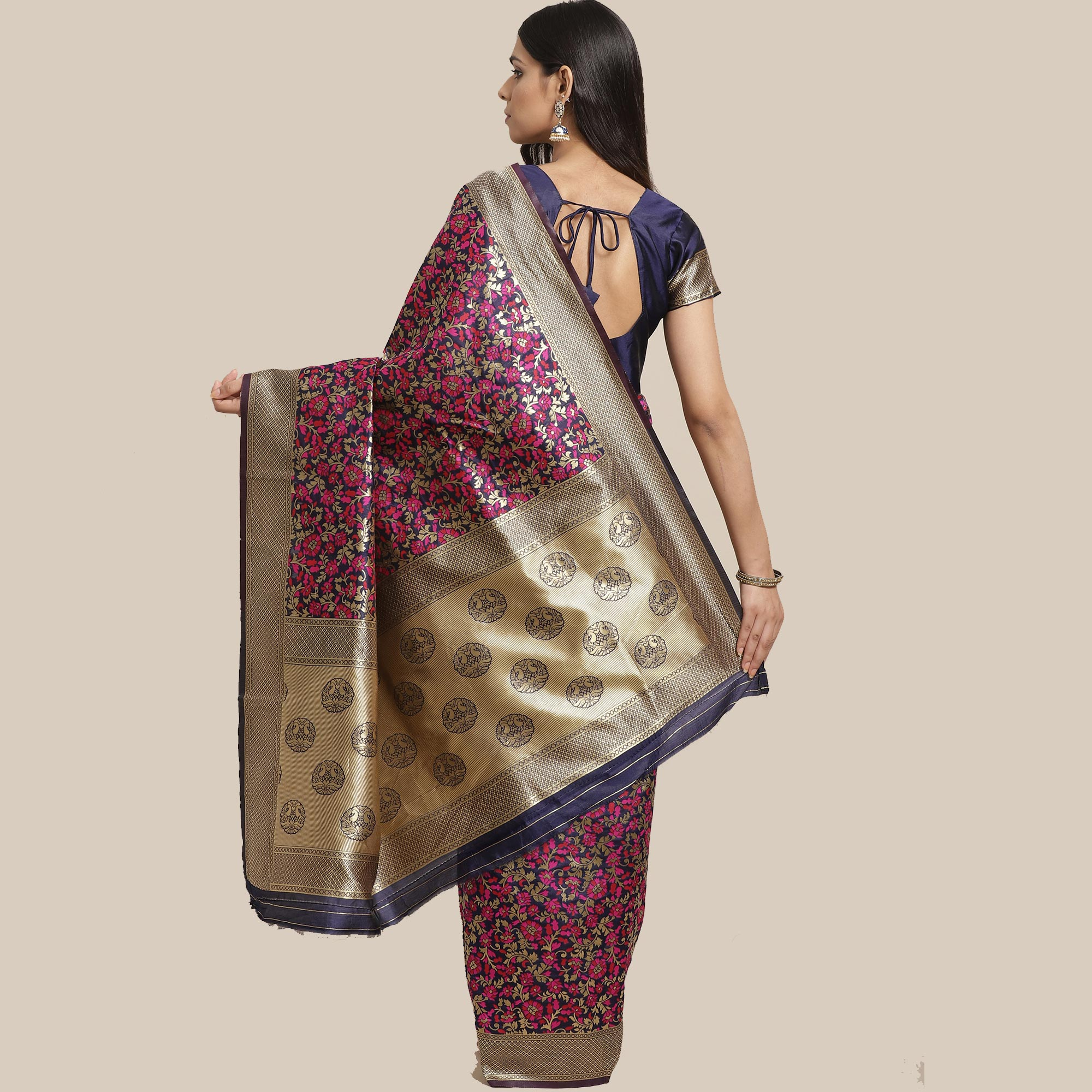 Captivating Navy Blue Colored Festive Wear Woven Silk Blend Saree