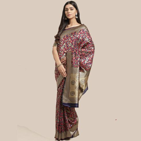 Innovative Navy Blue Colored Festive Wear Woven Silk Blend Saree