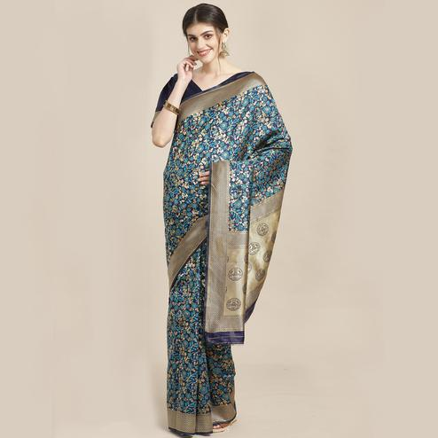 Eye-catching Blue Colored Festive Wear Woven Silk Blend Saree