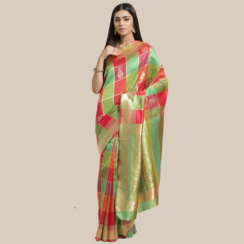 Fantastic Green-Pink Colored Festive Wear Woven Silk Blend Saree