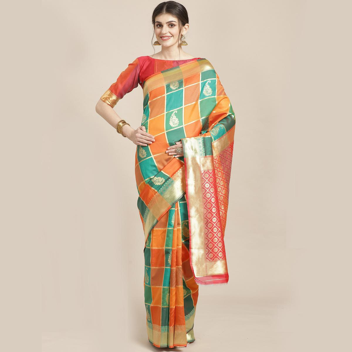 Amazing Green-Yellow Colored Festive Wear Woven Silk Blend Saree