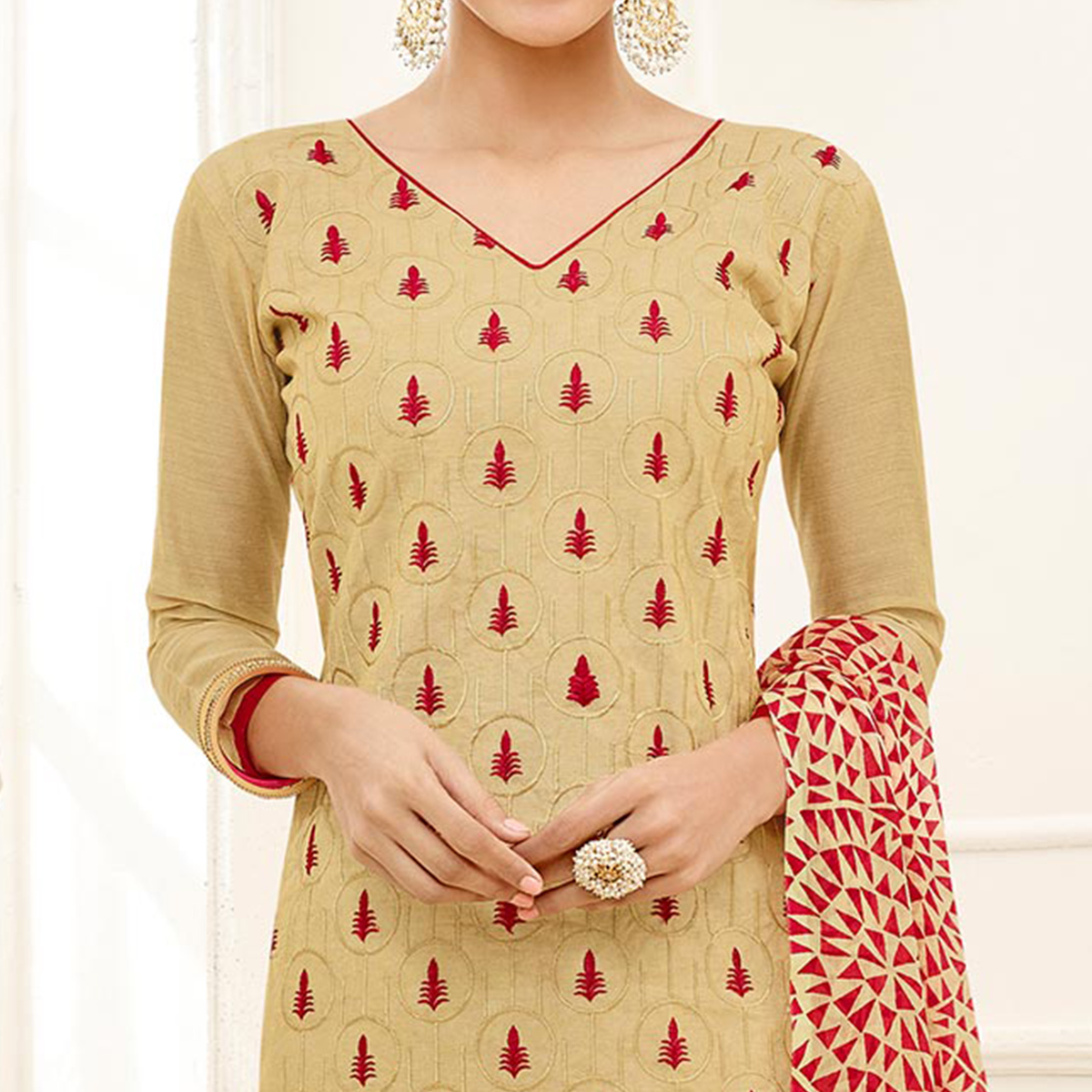 Attractive Beige - Red Embroidered Chanderi Silk Dress Material