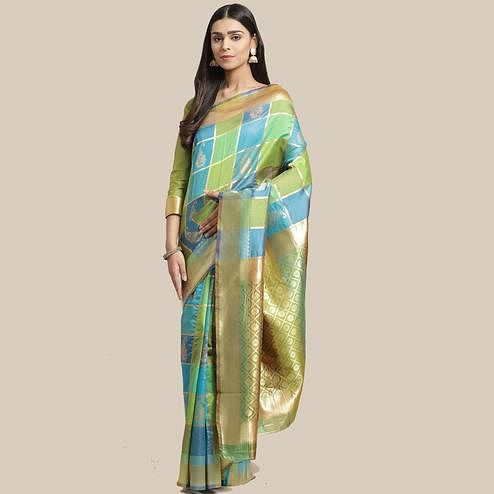 Gorgeous Green-Blue Colored Festive Wear Woven Silk Blend Saree