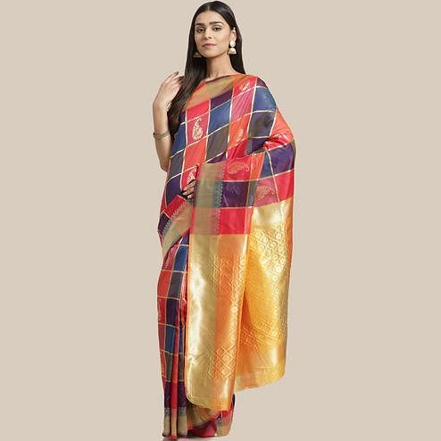 Blissful Multi Colored Festive Wear Woven Silk Blend Saree