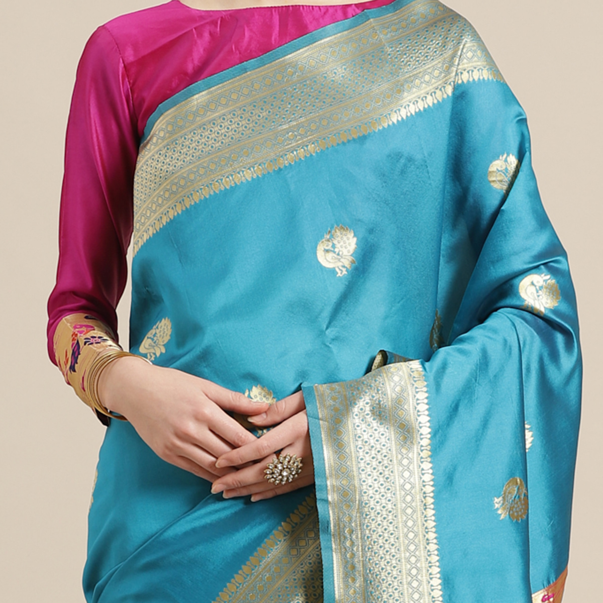 Lovely Sky Blue Colored Festive Wear Woven Silk Blend Saree