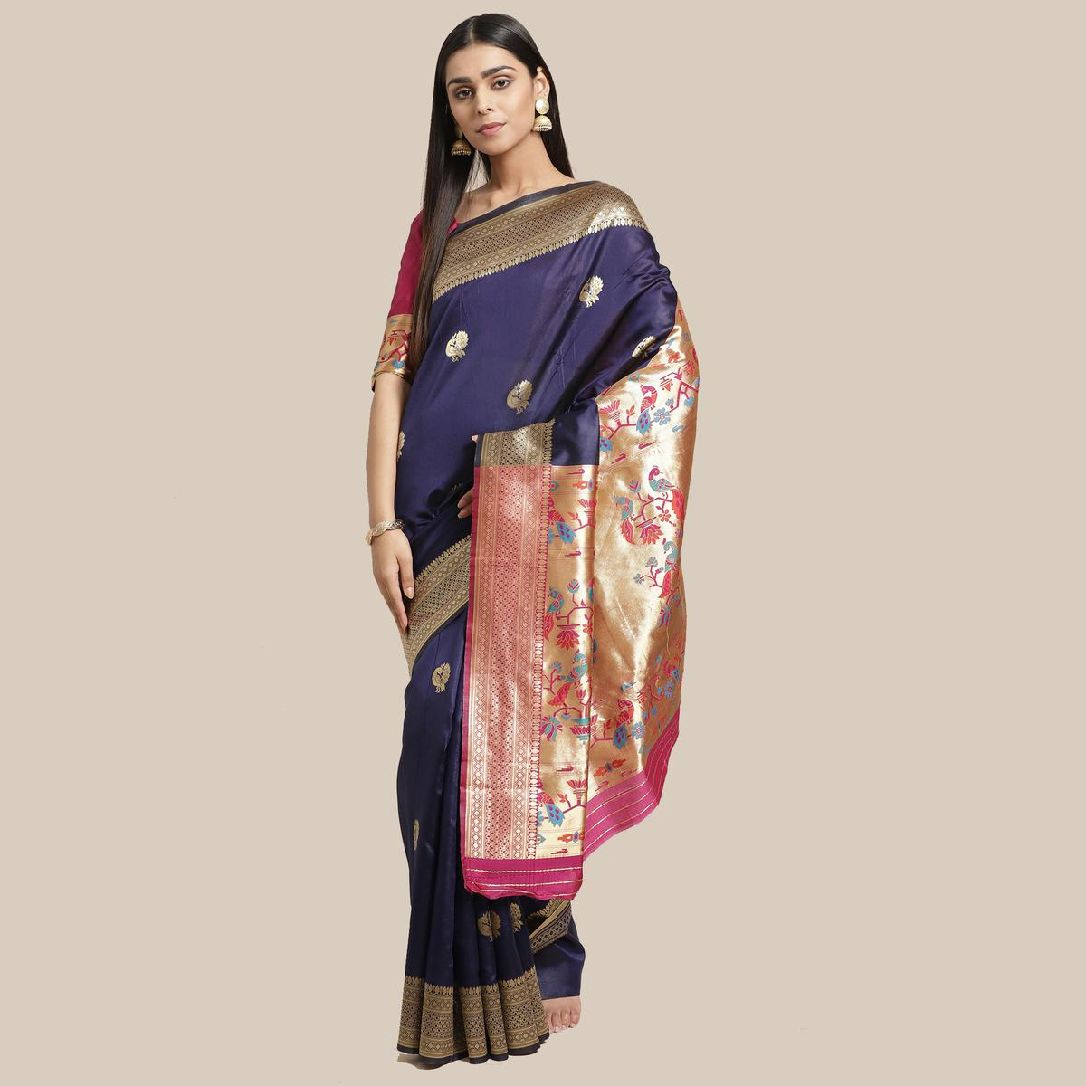 Majesty Navy Blue Colored Festive Wear Woven Silk Blend Saree