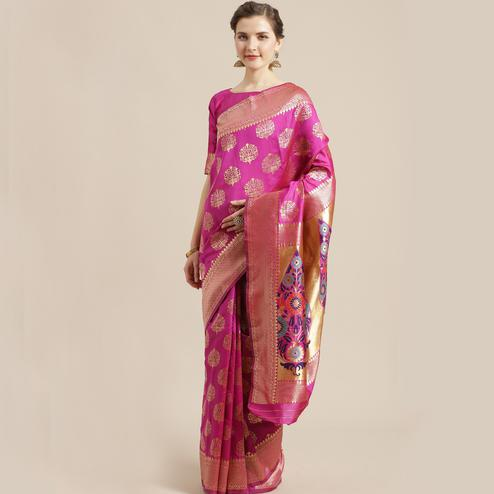Impressive Pink Colored Festive Wear Woven Silk Blend Saree