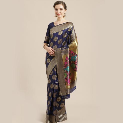 Mesmerising Navy Blue Colored Festive Wear Woven Silk Blend Saree