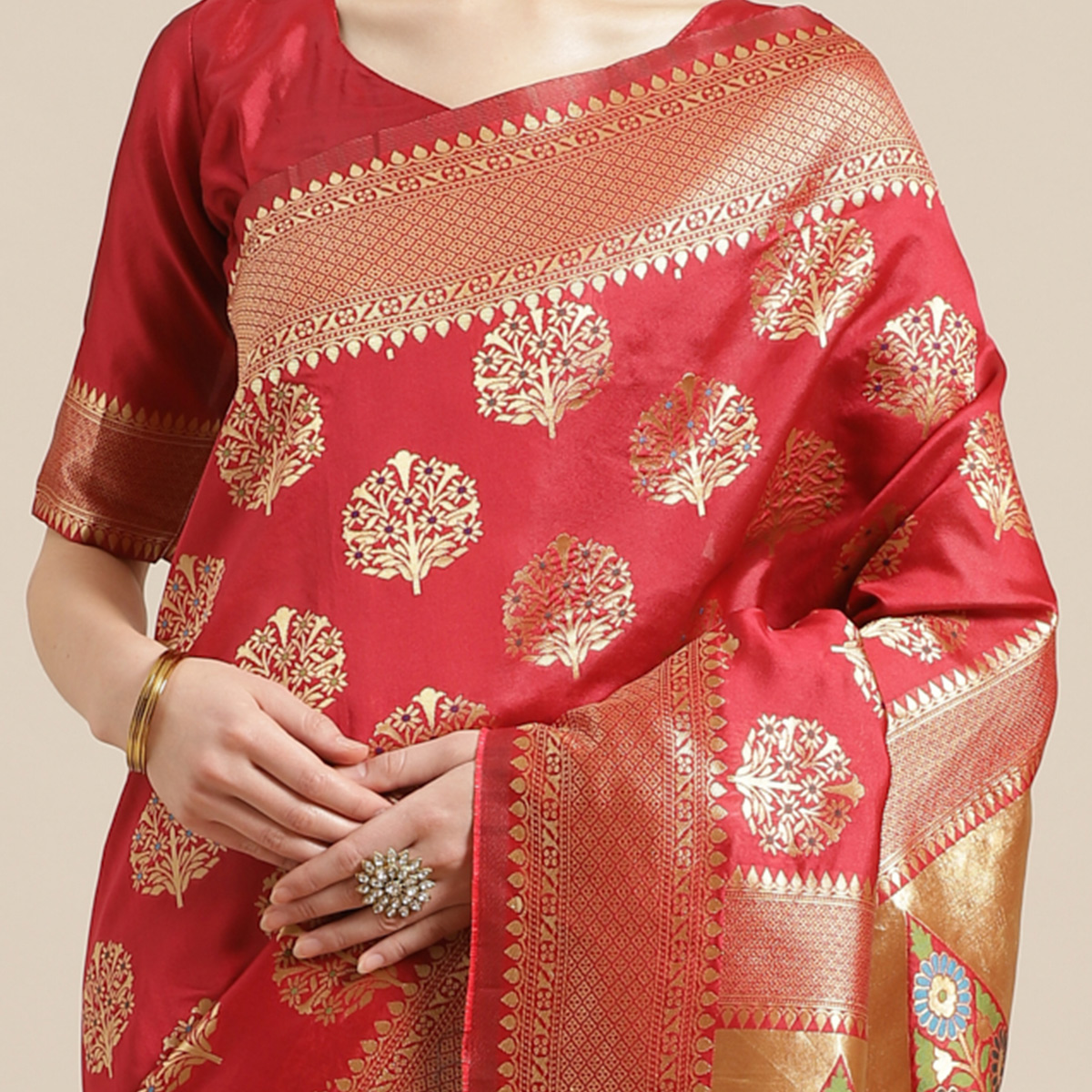 Pleasance Red Colored Festive Wear Woven Silk Blend Saree