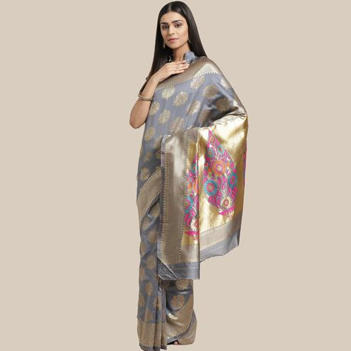 Breathtaking Grey Colored Festive Wear Woven Silk Blend Saree