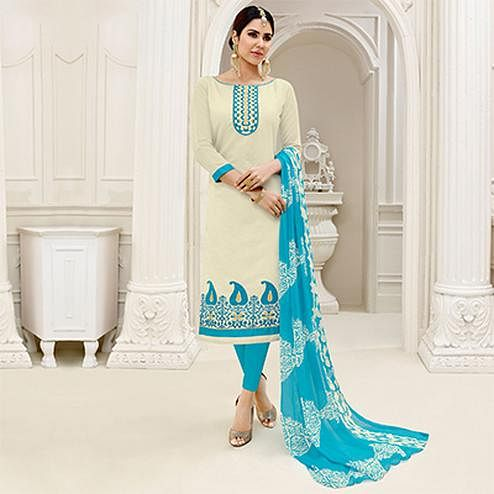 Flamboyant Off White - Turquoise Blue Embroidered Chanderi Silk Dress Material