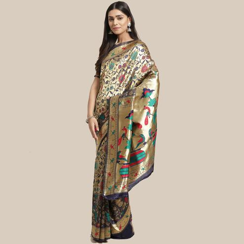 Ethnic Gold-Navy Blue Colored Festive Wear Woven Silk Blend Saree