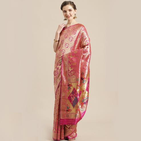 Dazzling Gold-Pink Colored Festive Wear Woven Silk Blend Saree