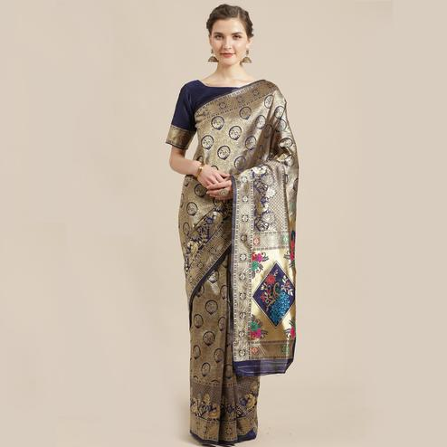 Surpassing Gold-Navy Blue Colored Festive Wear Woven Silk Blend Saree