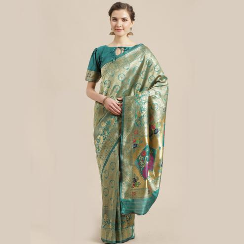 Intricate Gold-Green Colored Festive Wear Woven Silk Blend Saree