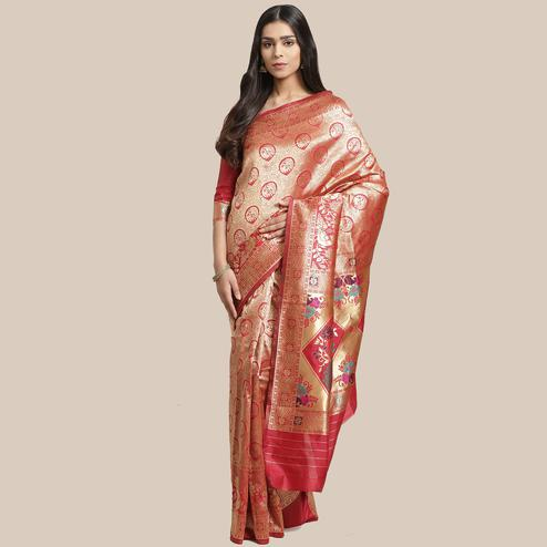 Arresting Gold-Red Colored Festive Wear Woven Silk Blend Saree