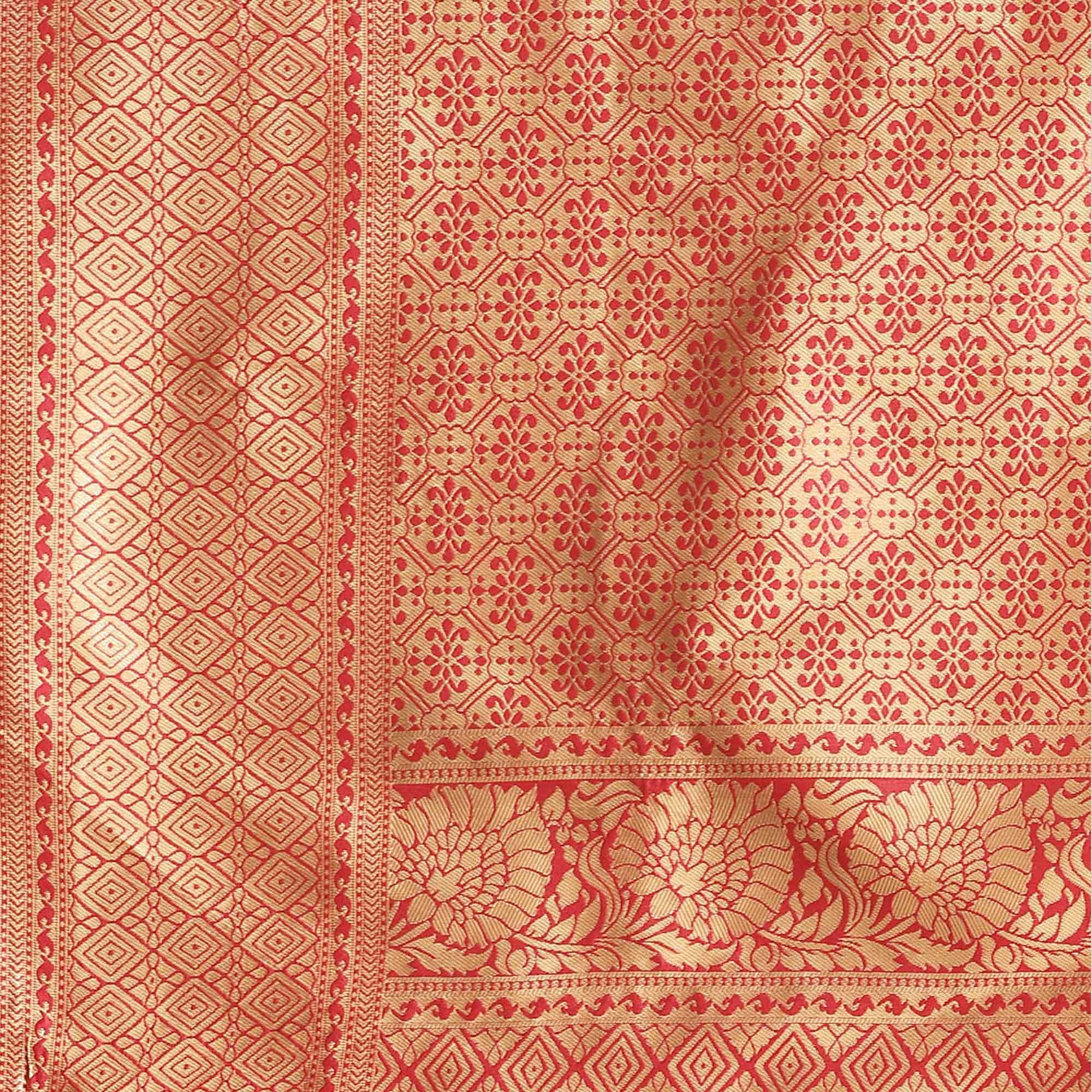 Exotic Red Colored Festive Wear Woven Silk Blend Saree