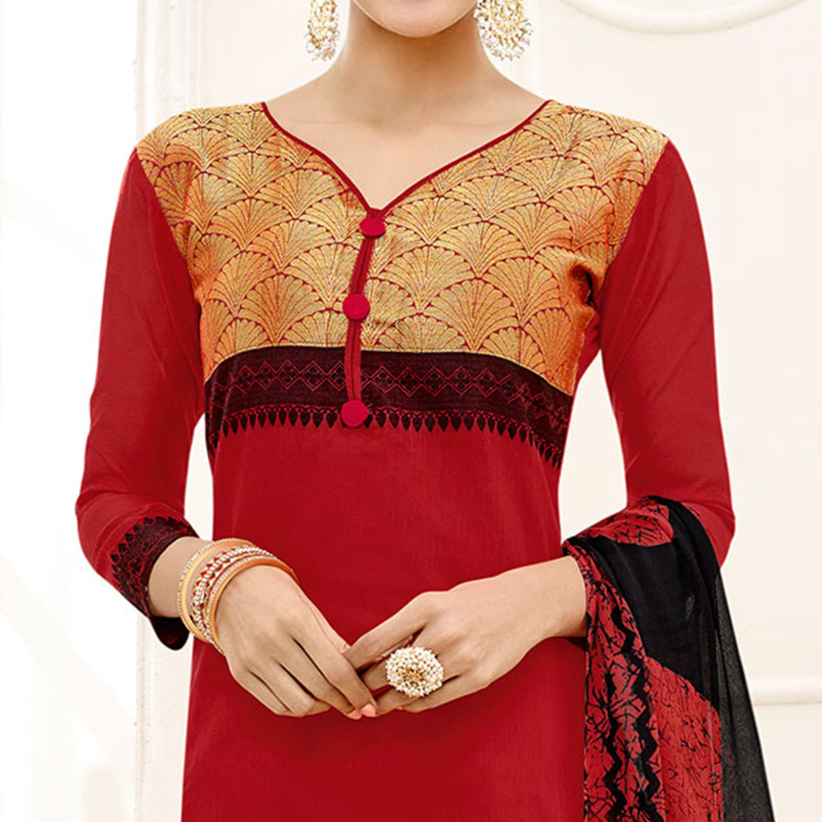 Ravishing Red - Black Embroidered Chanderi Silk Dress Material