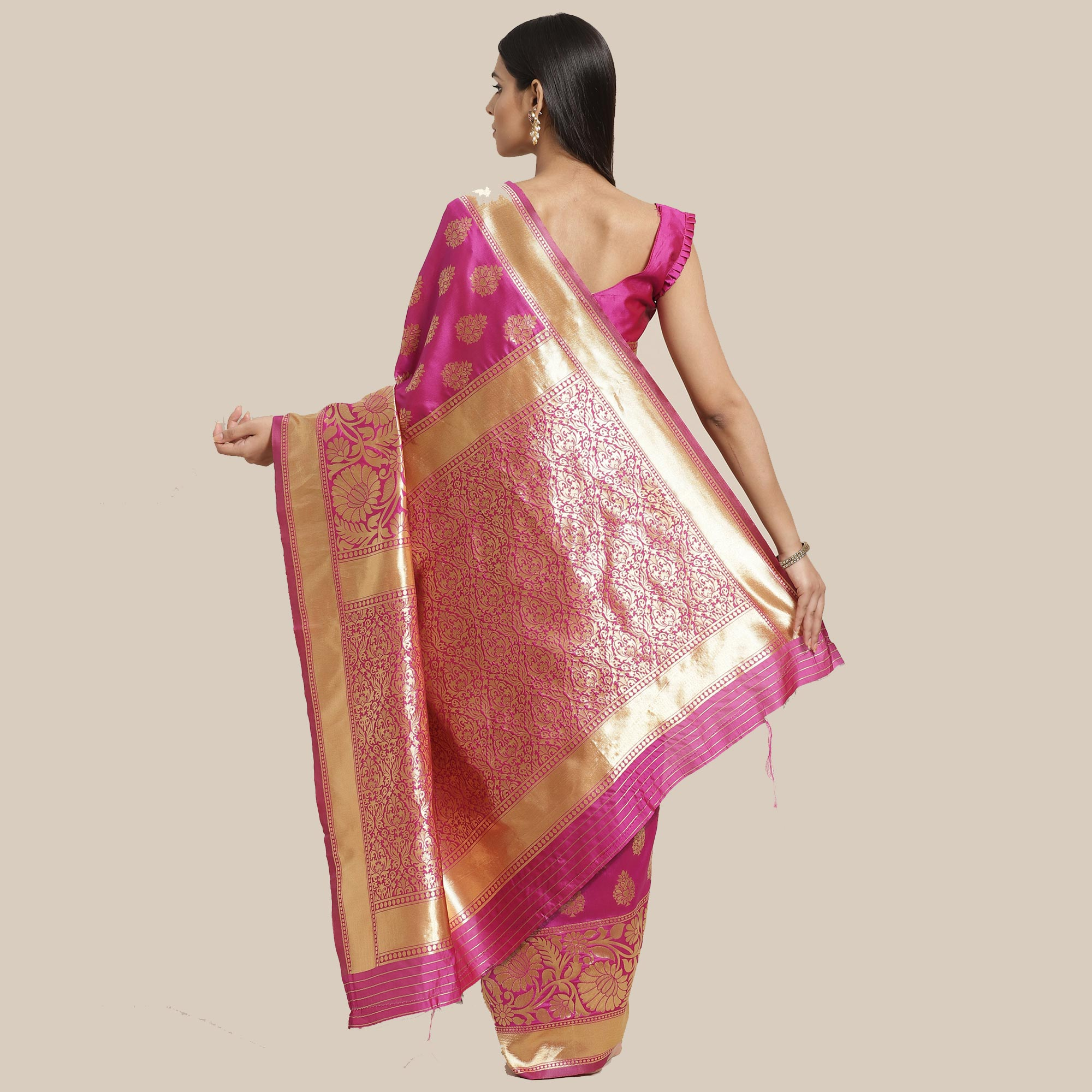 Elegant Pink Colored Festive Wear Woven Silk Blend Saree