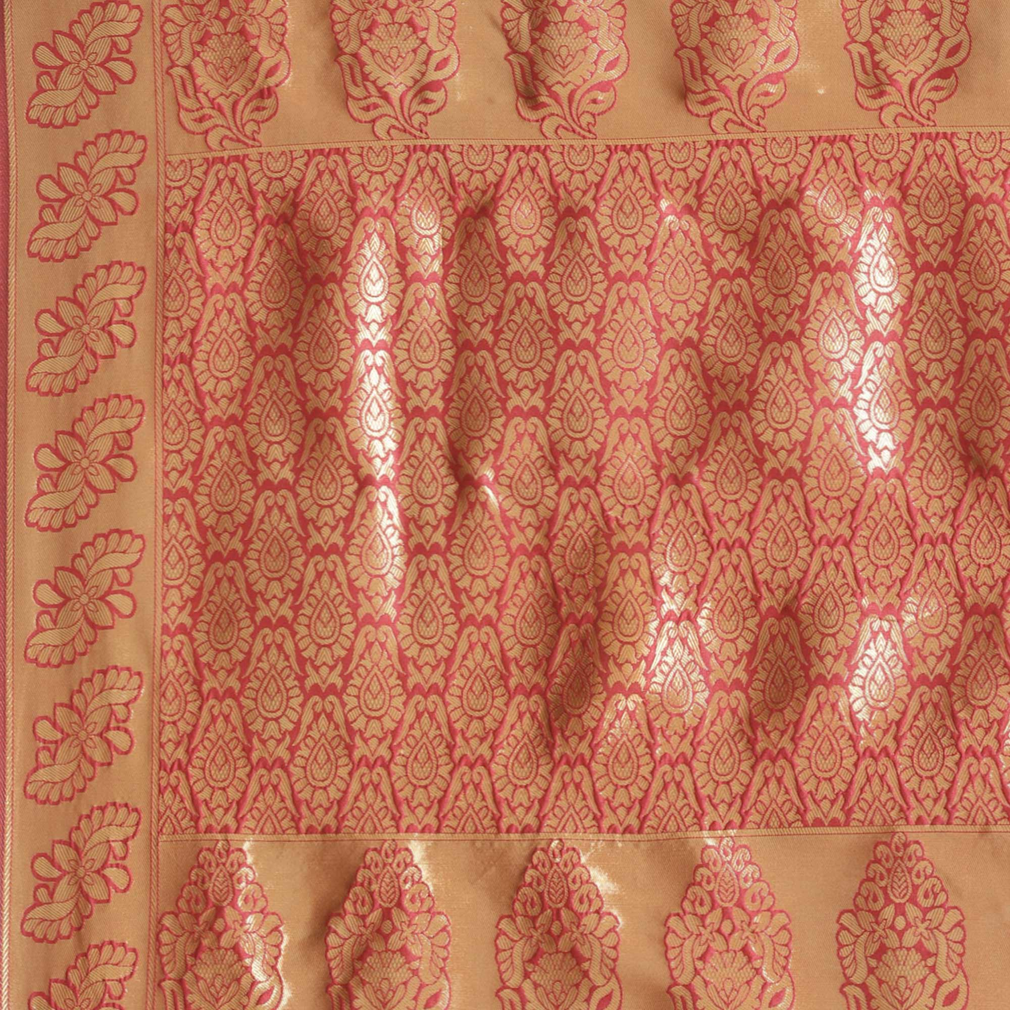 Radiant Red Colored Festive Wear Woven Silk Blend Saree