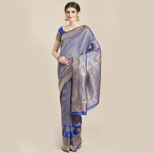 Pleasant Blue Colored Festive Wear Woven Silk Blend Saree
