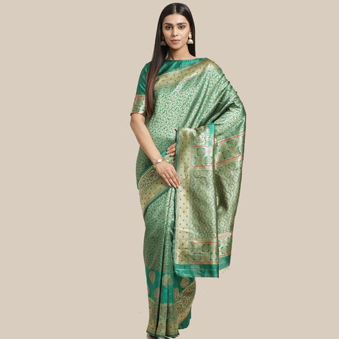 Opulent Green Colored Festive Wear Woven Silk Blend Saree