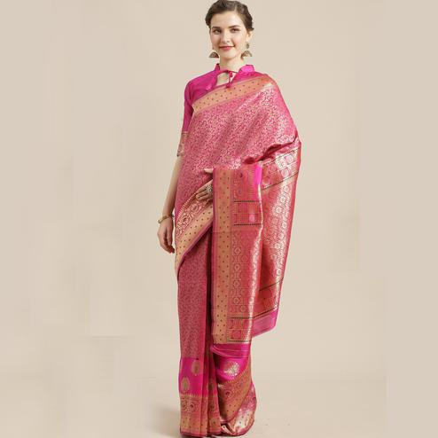 Energetic Pink Colored Festive Wear Woven Silk Blend Saree