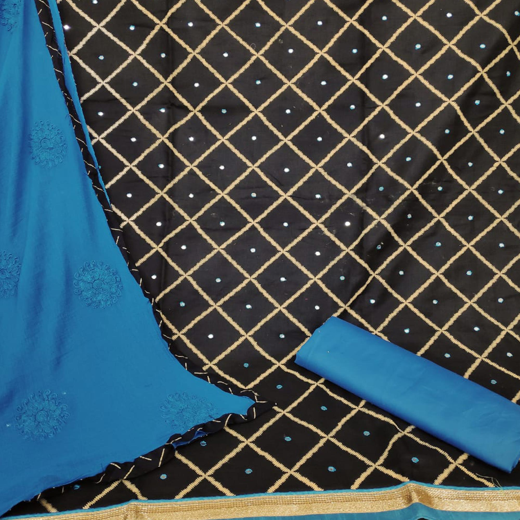 Groovy Black-Blue Colored Party Wear Printed Slub Cotton Dress Material