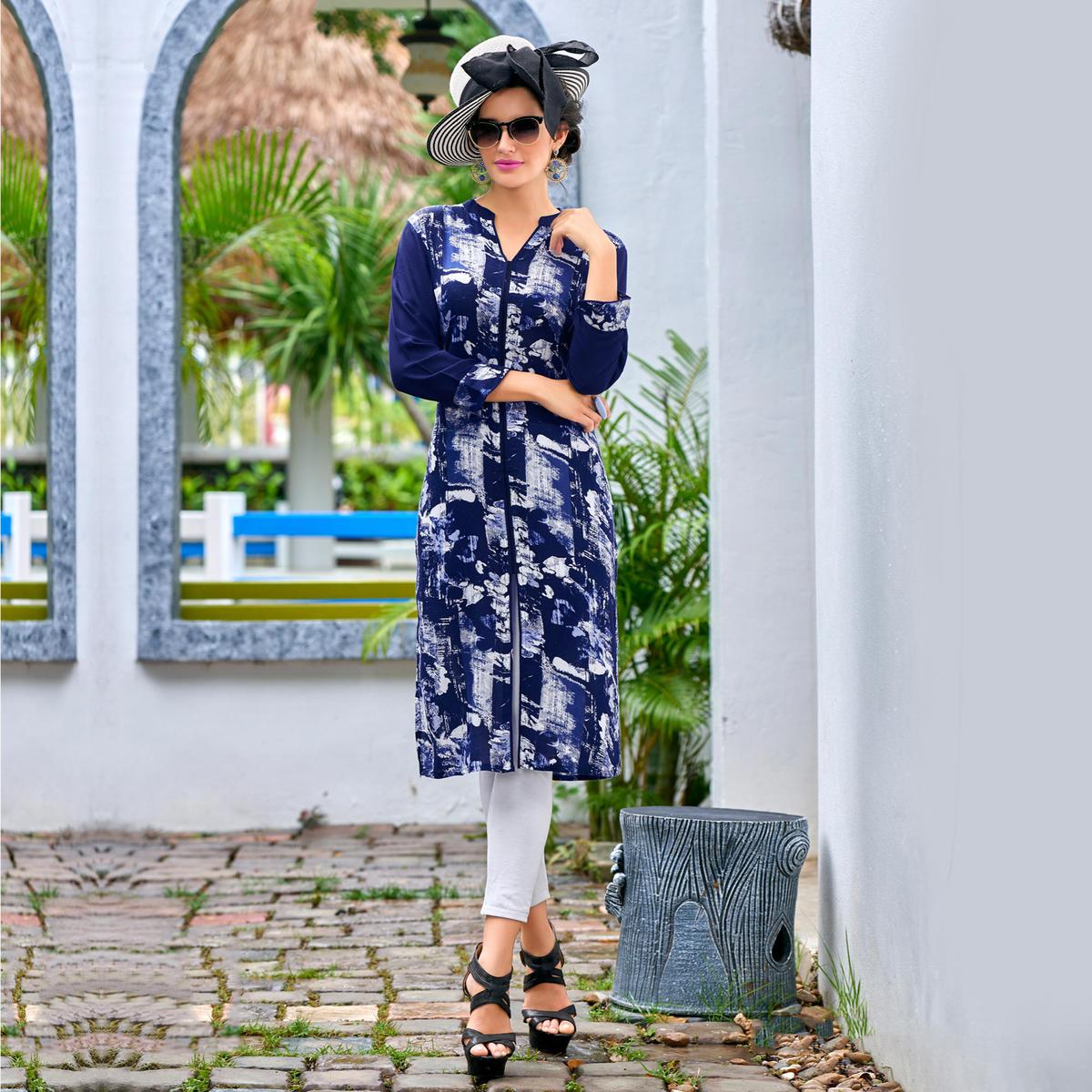 Blue Rayon Cotton Printed Designer Kurti