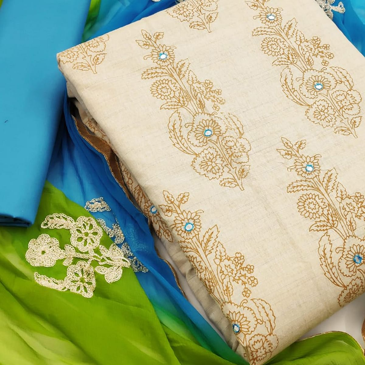 Fantastic Beige-Blue Colored Party Wear Printed Cotton Dress Material