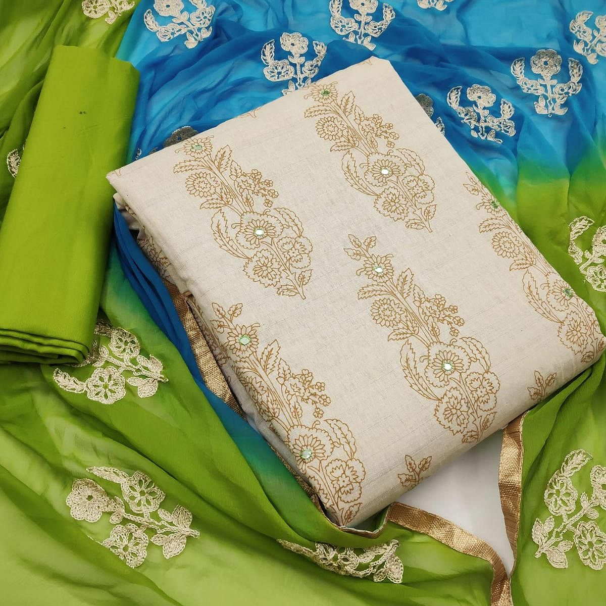 Amazing Beige-Green Colored Party Wear Printed Cotton Dress Material
