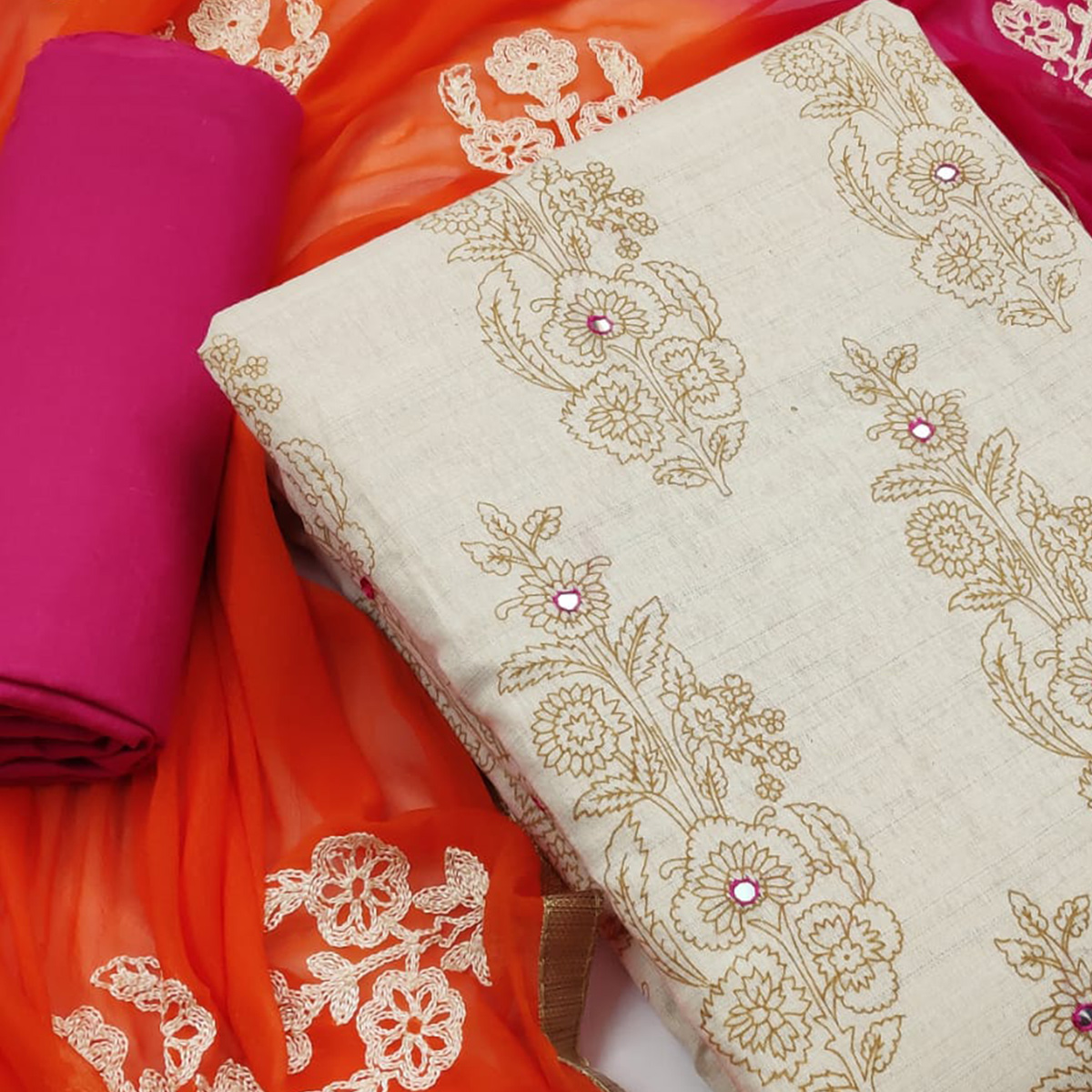 Ideal Beige-Pink Colored Party Wear Printed Cotton Dress Material