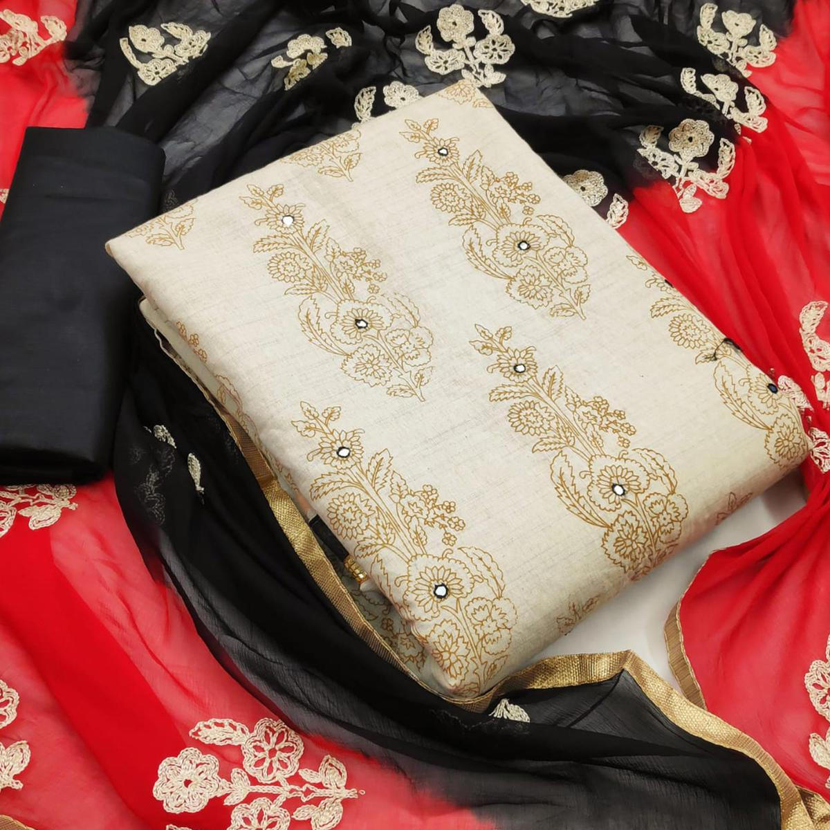 Lovely Beige-Black Colored Party Wear Printed Cotton Dress Material