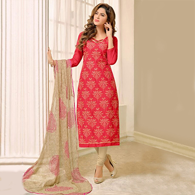 Red - Beige Chanderi Dress Material