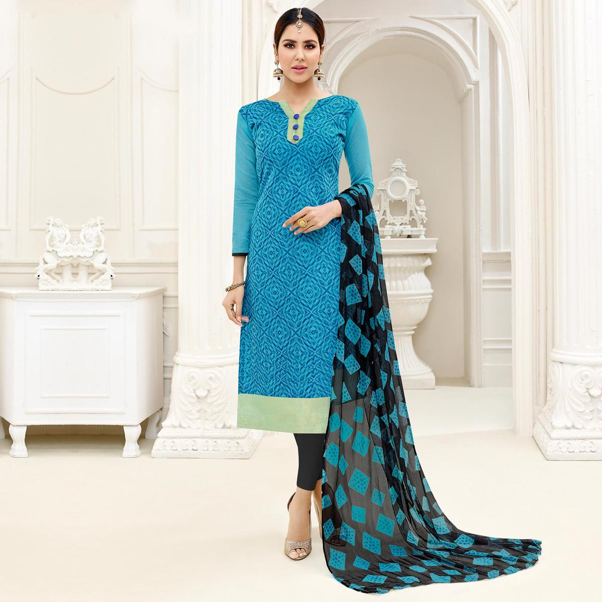 Stunning Blue - Black Embroidered Chanderi Silk Dress Material